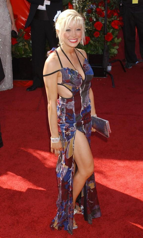 "WORST: In 2004, Courtney Peldon perfected the ""my dress was ravaged by a bear"" look. Too bad the bear didn't finish it off, or maybe even it has better taste than Peldon does. (Photo by Albert L. Ortega/WireImage)"