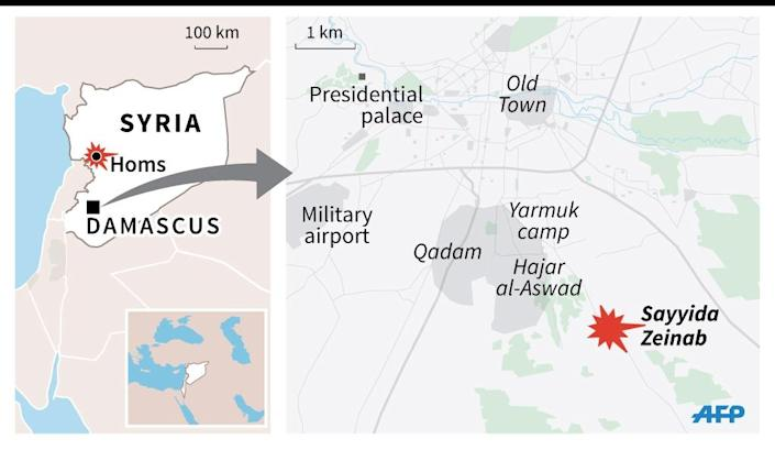 Map locating the Sayyida Zeinab Shiite shrine just south of Damascus, the target of deadly bomb attacks Sunday. (AFP Photo/Jonathan Jacobsen, Jihad Kachaami)