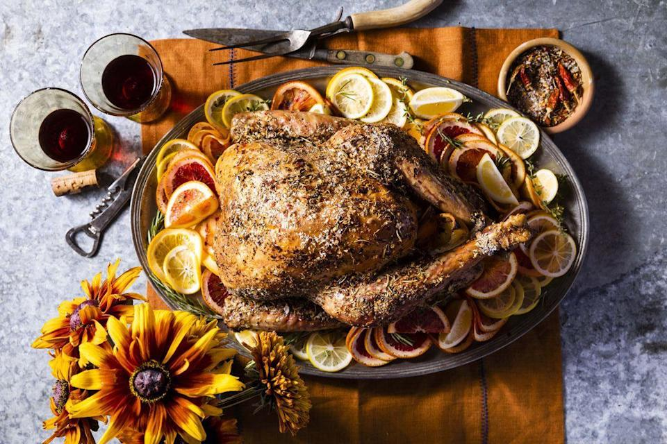 """<p>Grilling isn't just for warm-weather get-togethers. In fact, Thanksgiving may be the perfect time to break out the Weber: Wood chips will impart incredible flavor to turkey meat, and it frees up valuable oven space for making a variety of delicious sides, such as potatoes and cornbread.</p><p><strong>Cocktail:</strong></p><p><a href=""""https://www.countryliving.com/food-drinks/a34277083/m5-sidecar/"""" rel=""""nofollow noopener"""" target=""""_blank"""" data-ylk=""""slk:M5 Sidecar"""" class=""""link rapid-noclick-resp"""">M5 Sidecar</a></p><p><strong>Main Course:</strong></p><p><a href=""""https://www.countryliving.com/food-drinks/a34276514/grilled-citrus-and-spice-turkey/"""" rel=""""nofollow noopener"""" target=""""_blank"""" data-ylk=""""slk:Grilled Citrus-and-Spice Turkey"""" class=""""link rapid-noclick-resp"""">Grilled Citrus-and-Spice Turkey</a></p><p><strong>Sides:</strong></p><p><a href=""""https://www.countryliving.com/food-drinks/a34276952/crispy-brussels-sprouts-salad/"""" rel=""""nofollow noopener"""" target=""""_blank"""" data-ylk=""""slk:Crispy Brussels Sprouts Salad with Citrus-Maple Vinaigrette"""" class=""""link rapid-noclick-resp"""">Crispy Brussels Sprouts Salad with Citrus-Maple Vinaigrette</a></p><p><a href=""""https://www.countryliving.com/food-drinks/a34277029/cast-iron-hasselback-potatoes/"""" rel=""""nofollow noopener"""" target=""""_blank"""" data-ylk=""""slk:Cast-Iron Hasselback Potatoes"""" class=""""link rapid-noclick-resp"""">Cast-Iron Hasselback Potatoes</a></p><p><a href=""""https://www.countryliving.com/food-drinks/a34276804/skillet-cornbread-with-honey-butter/"""" rel=""""nofollow noopener"""" target=""""_blank"""" data-ylk=""""slk:Skillet Cornbread with Honey Butter"""" class=""""link rapid-noclick-resp"""">Skillet Cornbread with Honey Butter</a></p><p><strong>Desserts:</strong></p><p><a href=""""https://www.countryliving.com/food-drinks/a34275052/salted-caramel-apple-slab-pie-recipe/"""" rel=""""nofollow noopener"""" target=""""_blank"""" data-ylk=""""slk:Salted Caramel-Apple Slab Pie"""" class=""""link rapid-noclick-resp"""">Salted Caramel-Apple Slab Pie</a></p><p><a href=""""https://www.countryliving.co"""