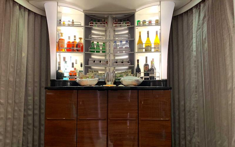 The first class cabin on the A380 also features a smaller bar area. | Talia Avakian