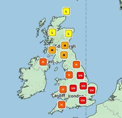 Current pollen levels across the UK (Met Office)