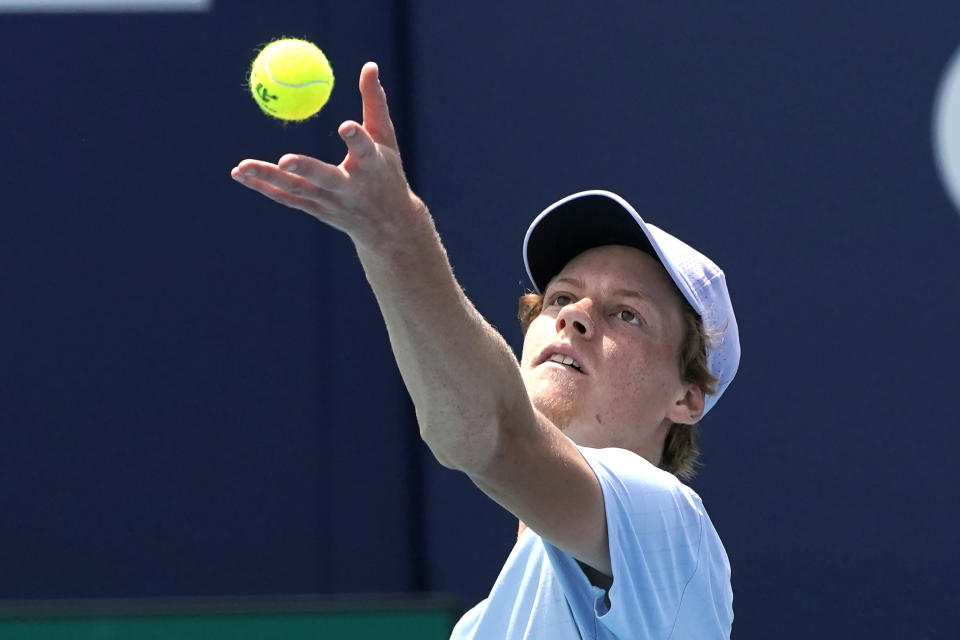 Jannik Sinner, of Italy ,serves to Roberto Bautista Agut, of Spain, during the semifinals of the Miami Open tennis tournament, Friday, April 2, 2021, in Miami Gardens, Fla. (AP Photo/Lynne Sladky)