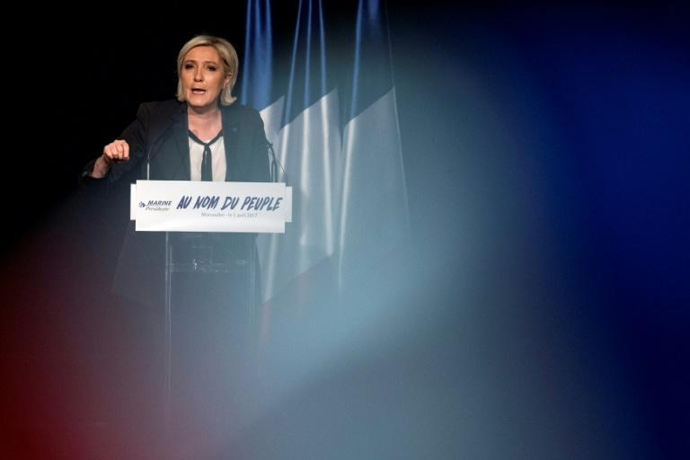 "Front National party candiadate Marine Le Pen, pictured on April 5, 2017, was ""surprised"" by President Donald Trump's decision to order air strikes in Syria"