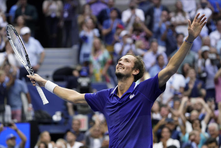 Daniil Medvedev, of Russia, reacts after defeating Novak Djokovic, of Serbia, during the men's singles final of the US Open tennis championships, Sunday, Sept. 12, 2021, in New York. (AP Photo/John Minchillo)