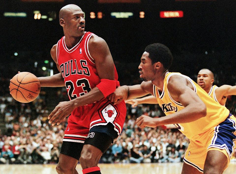 """Michael Jordan described Kobe Bryant as """"like a little brother to me"""" in response to his death. (Vince BucciI/AFP via Getty Images)"""