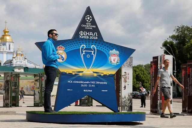 An installation with the logo of the UEFA Champions League final is on display in central Kiev, Ukraine May 12, 2018. REUTERS/Valentyn Ogirenko