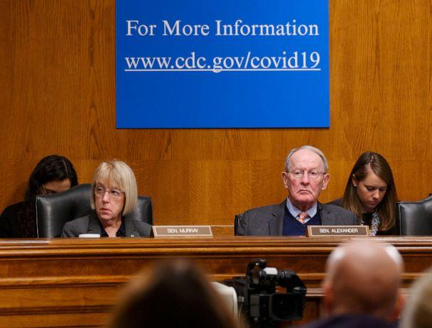 PHOTO: Sen. Patty Murray, left, listens during testimony during the Senate Committee on Health, Education, Labor and Pensions hearing on how the U.S. is Responding to COVID-19, the Novel Coronavirus, in Washington, March 3, 2020. (Jack Gruber/USA Today Network via Imagn)