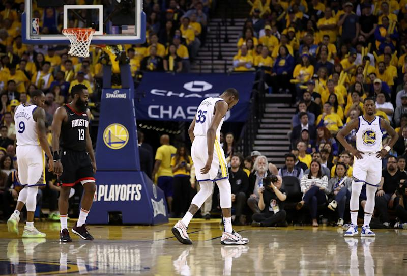 """Kevin Durant is """"not close"""" to returning from a calf injury for the Golden State Warriors in their Western Conference finals series against the Portland Trail Blazers."""