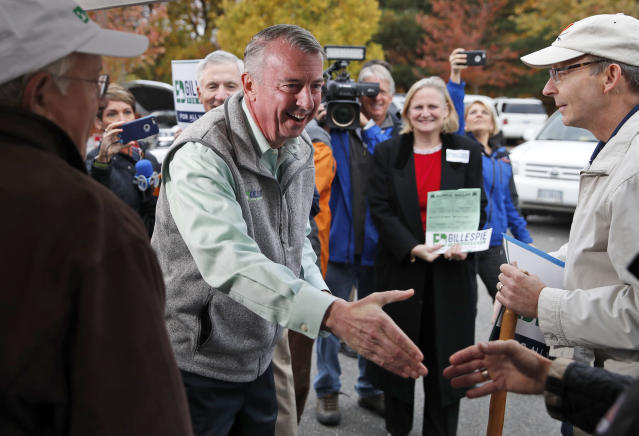 Ed Gillespie, the Republican candidate for governor of Virginia, greets supporters before voting at his polling place on Tuesday, Nov. 7, 2017, in Alexandria. (Photo: Alex Brandon/AP)