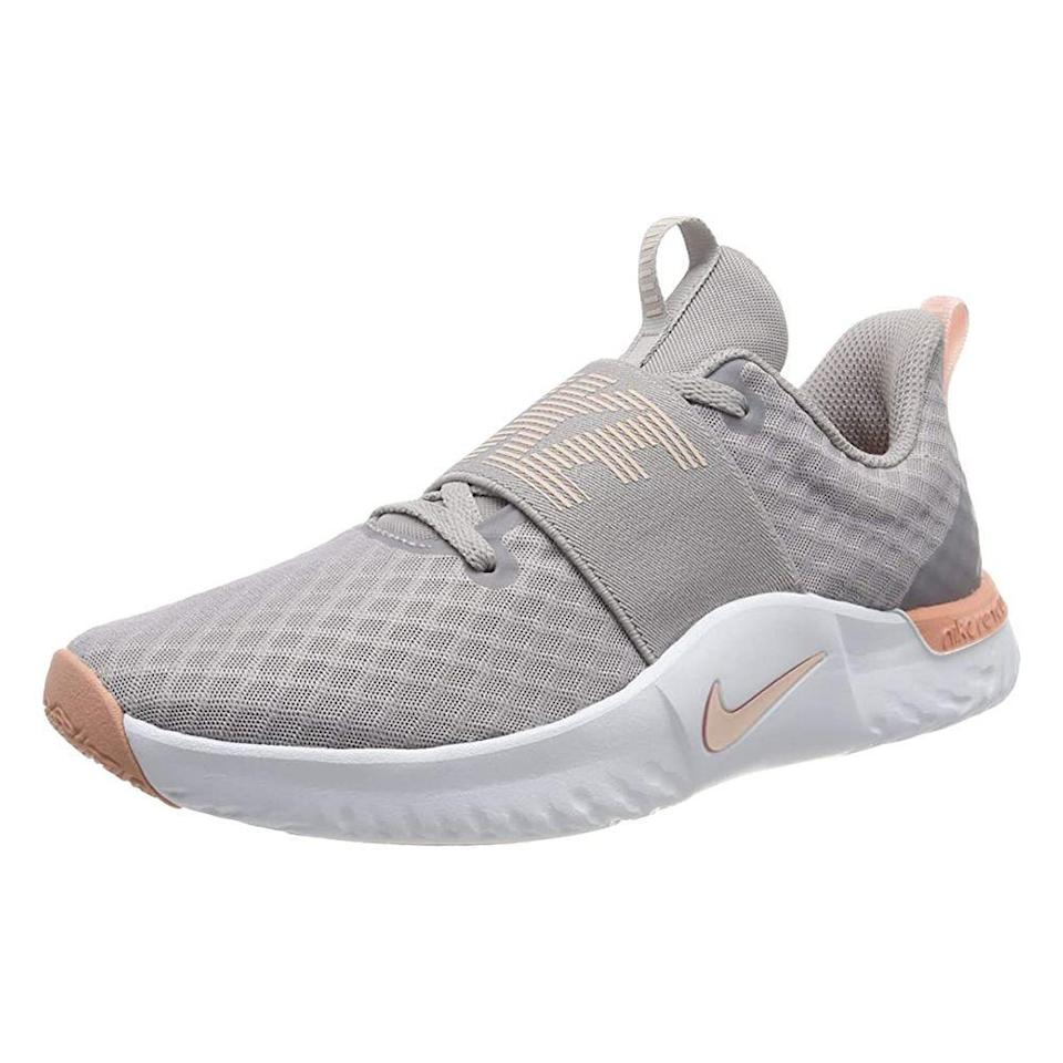 """<p><strong>Nike</strong></p><p>amazon.com</p><p><strong>$115.00</strong></p><p><a href=""""https://www.amazon.com/dp/B07MB2VGYM?tag=syn-yahoo-20&ascsubtag=%5Bartid%7C2141.g.22749024%5Bsrc%7Cyahoo-us"""" rel=""""nofollow noopener"""" target=""""_blank"""" data-ylk=""""slk:Shop Now"""" class=""""link rapid-noclick-resp"""">Shop Now</a></p><p>A streamlined training sneaker with built-in comfort and lots of flexibility like the Nike TR 9 is a force to be reckoned with. They have a memory foam insole for overall comfort, a supportive heel cup, and impact-absorbing cushioning. It also features <strong>deep grooves on the sole that ensure a good grip</strong> and allow the shoe to move in all directions while doing bear crawls or side squats. One Amazon gushes, """"Very comfortable, fits perfect, and very cute. I absolutely love them."""" </p>"""