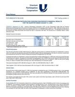 URANIUM PARTICIPATION CORPORATION REPORTS FINANCIAL RESULTS  FOR THE QUARTER ENDED AUGUST 31, 2020 (CNW Group/Uranium Participation Corporation)