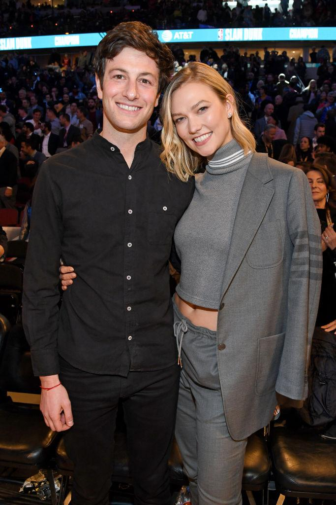 Karlie Kloss has been passing the time in isolation by giving husband Josh Kushner a new hair do, pictured here in Chicago in February 2020. (Getty Images)