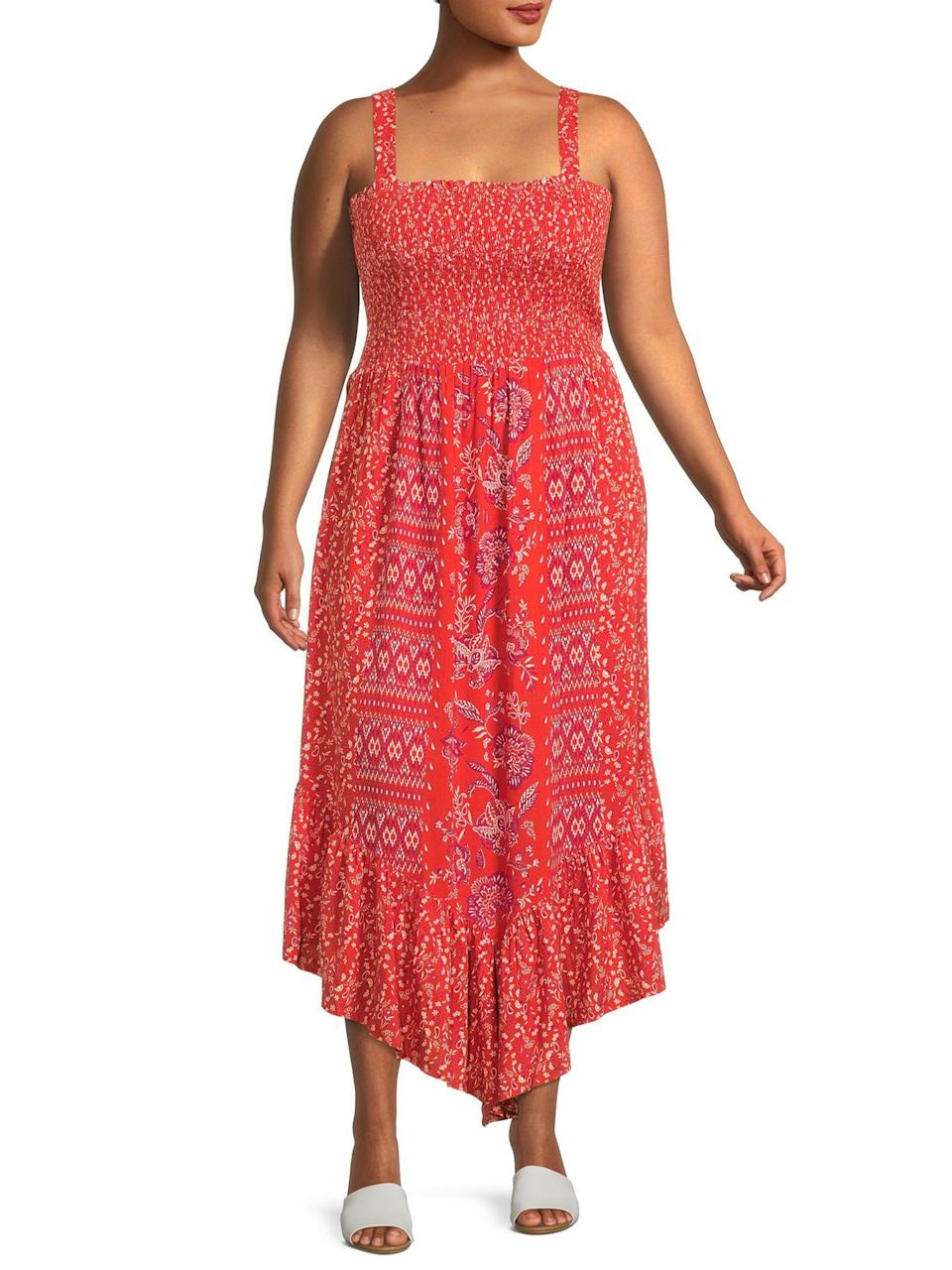 """<p><strong>Romantic Gypsy</strong></p><p>walmart.com</p><p><strong>$32.50</strong></p><p><a href=""""https://go.redirectingat.com?id=74968X1596630&url=https%3A%2F%2Fwww.walmart.com%2Fip%2F412417939&sref=https%3A%2F%2Fwww.oprahdaily.com%2Fstyle%2Fg32465022%2Fplus-size-maxi-dresses%2F"""" rel=""""nofollow noopener"""" target=""""_blank"""" data-ylk=""""slk:SHOP NOW"""" class=""""link rapid-noclick-resp"""">SHOP NOW</a></p><p>A handkerchief hem and smocking add extra interest to this global-inspired print dress.</p>"""
