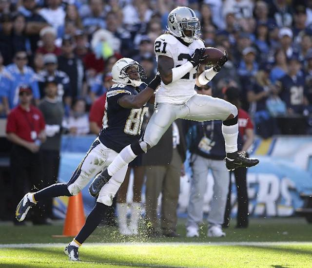 Oakland Raiders cornerback Mike Jenkins, right, intercepts a pass in front of San Diego Chargers wide receiver Vincent Brown during the first half of an NFL football game on Sunday, Dec. 22, 2013, in San Diego. (AP Photo/Lenny Ignelzi)