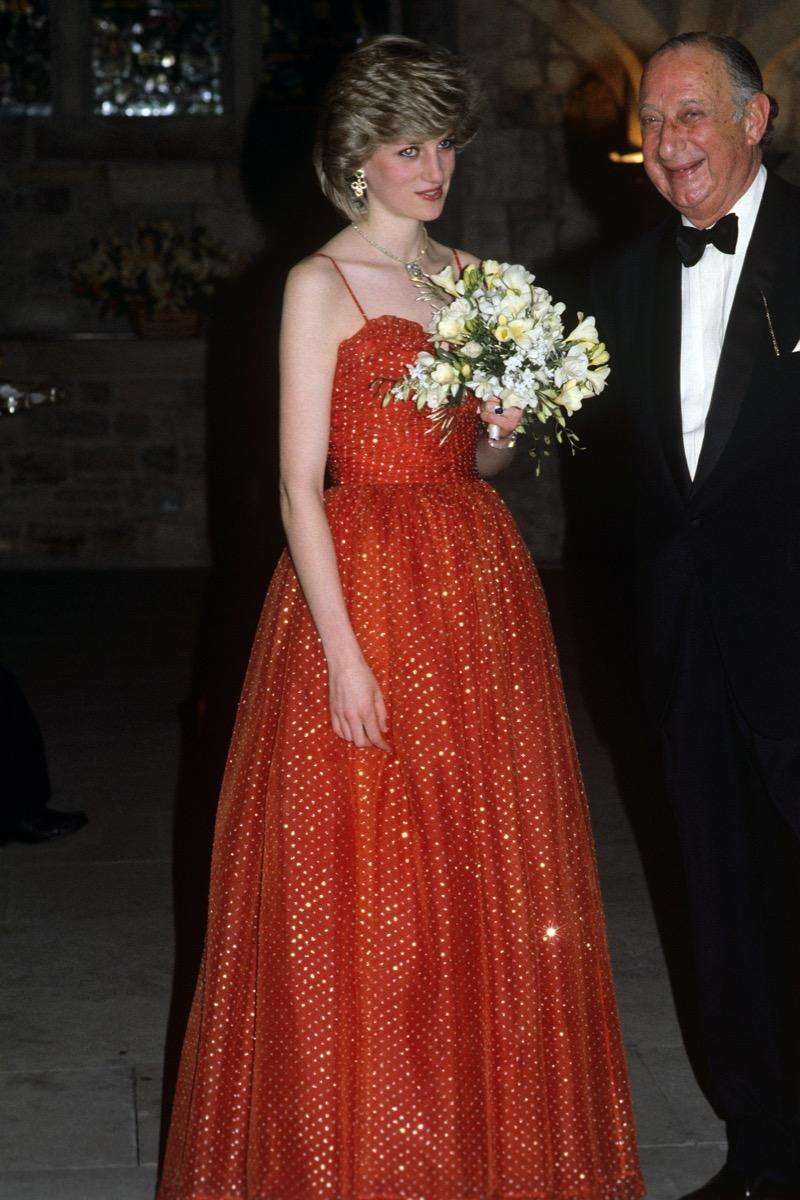 Princess Diana wears sparkly red dress at Wales Jewish Welfare Board Dinner