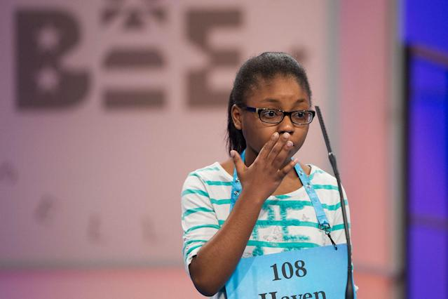 <p>Haven Griggs of Lawndale, N.C., misspells her word during the 90th Scripps National Spelling Bee in Oxon Hill, Md., Wednesday, May 31, 2017. (AP Photo/Cliff Owen) </p>