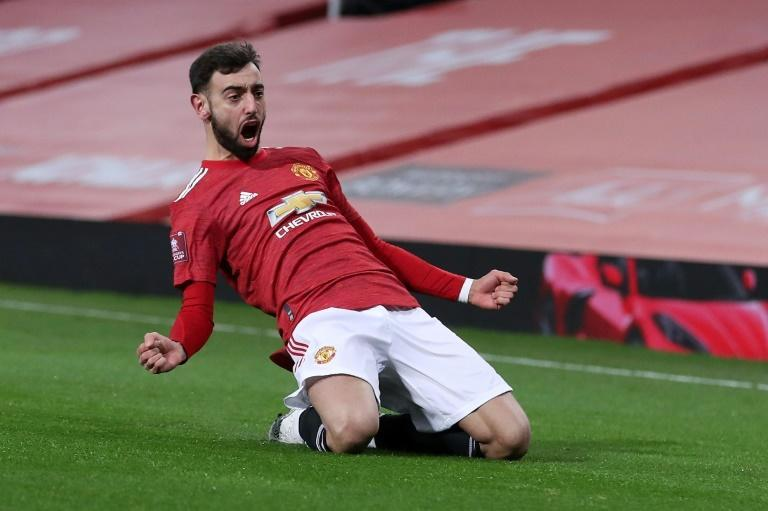 Match winner: Bruno Fernandes's free-kick edged a thrilling FA Cup tie 3-2 for Manchester United over Liverpool