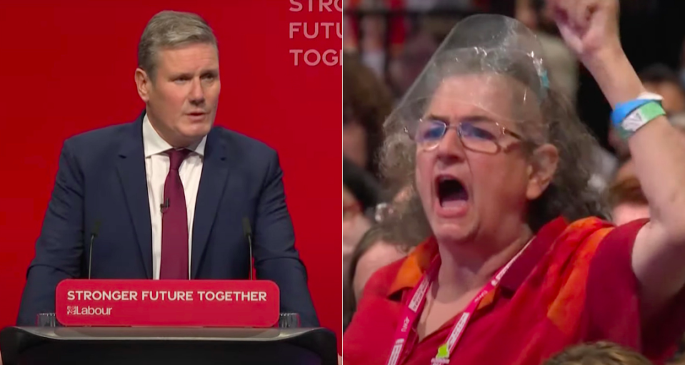 Sir Keir Starmer hit back at hecklers during his Labour conference speech.