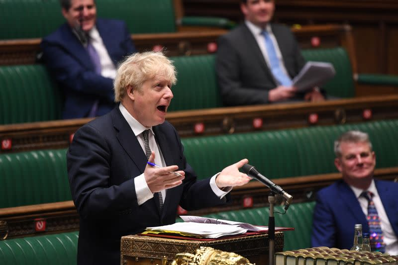Britain's Prime Minister Boris Johnson speaks during the weekly question time debate at the House of Commons in London
