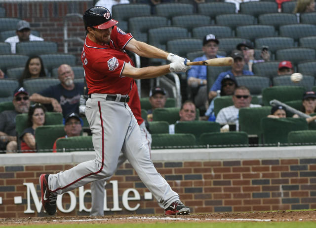 Washington Nationals' pitcher Max Scherzer was the offensive star in Saturday's 14-inning win. (AP)