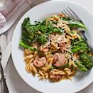 """<p>We love this quick skillet meal for busy evenings. The sausage and orzo simmer together in chicken broth, resulting in a creamy, risotto-like dish in under 30 minutes. <a href=""""http://www.eatingwell.com/recipe/263979/broccolini-chicken-sausage-orzo-skillet/"""" rel=""""nofollow noopener"""" target=""""_blank"""" data-ylk=""""slk:View recipe"""" class=""""link rapid-noclick-resp""""> View recipe </a></p>"""