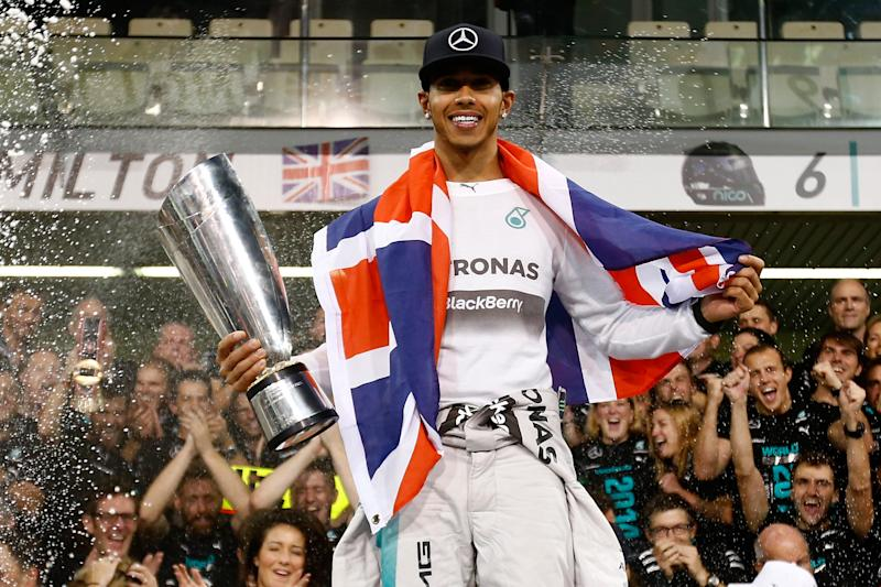 Hamilton won his first title with Mercedes in 2014. (Credit: Getty Images)