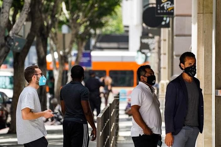 """L.A. residents who go maskless could face an escalating system of fines under a proposal unveiled Wednesday. <span class=""""copyright"""">(Kent Nishimura/Los Angeles Times)</span>"""