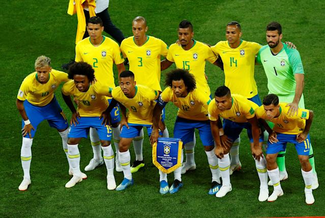 Soccer Football - World Cup - Group E - Brazil vs Switzerland - Rostov Arena, Rostov-on-Don, Russia - June 17, 2018 Brazil players pose for a team group photo before the match REUTERS/Jason Cairnduff
