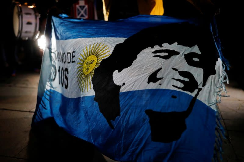 Tribute to Argentine soccer legend Diego Armando Maradona in Barcelona