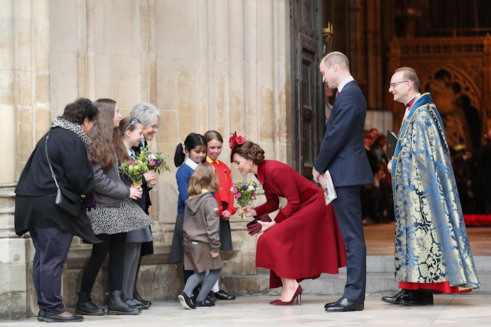The Duke and Duchess of Cambridge leave after the Commonwealth Service at Westminster Abbey, London on Commonwealth Day. The service is the Duke and Duchess of Sussex's final official engagement before they quit royal life.