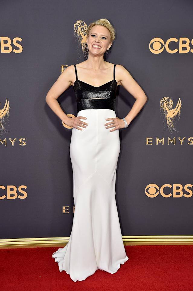 <p>The column gown McKinnon chose was simple and stunning, and that's no joke. (Photo: Getty Images) </p>