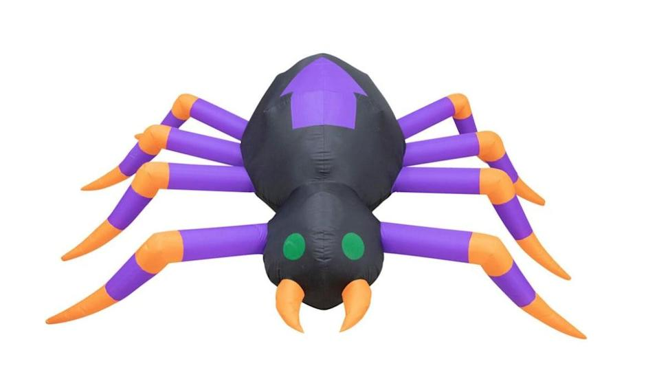<p>Just think how epic this ginormous <span>Spider Inflatable with Lights</span> ($60) would look on the roof! Standing eight feet tall, the spider inflates at a push of a button, and Mother Nature won't be an issue thanks to its durable layer of weather-resistant polyester material. Collapse the inflatable, and put it away until you need it again next Fall.</p>