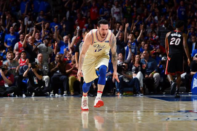 J.J. Redick caught fire after halftime, helping lead the 76ers to a convincing win in Game 1 of their first-round playoff series. (Getty)