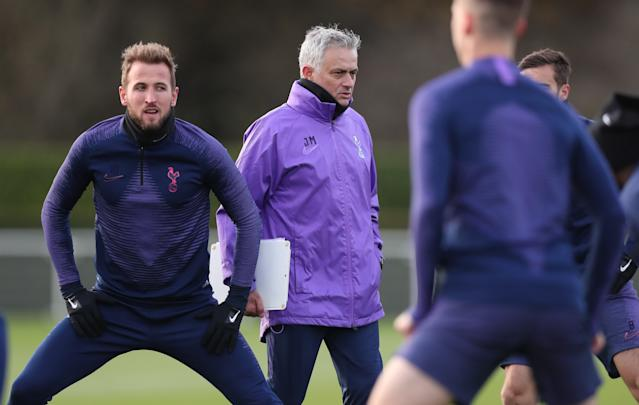 Jose Mourinho takes training (Credit: Getty Images)