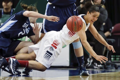Gonzaga's Haiden Palmer, right, gets rid of the ball as she falls to the floor in the first half against San Diego during the championship game of the women's West Coast Conference tournament NCAA college basketball game, Monday, March 11, 2013 in Las Vegas. Palmer was called for traveling on the play. (AP Photo/Julie Jacobson)