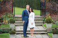 <p>Prince Harry and Meghan Markle smile for photographers at an official photocall to announce their engagement. </p>