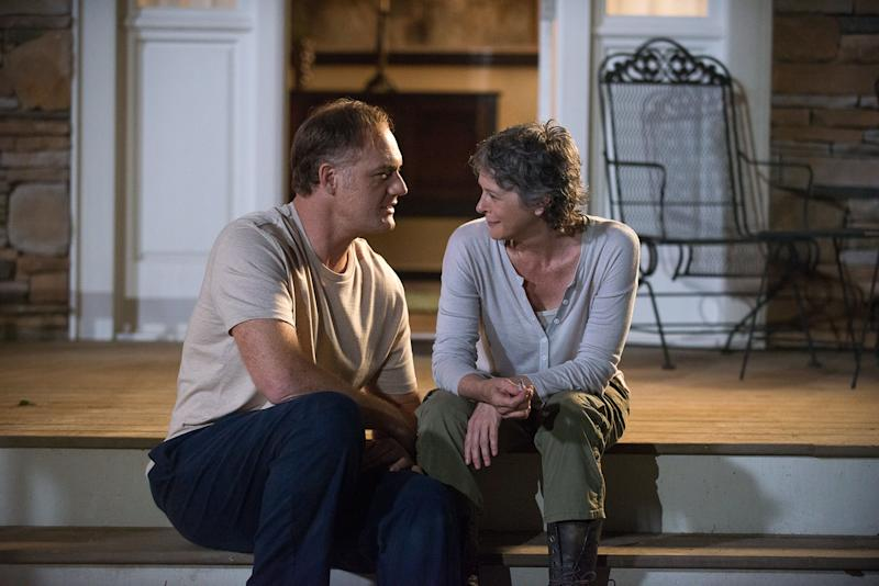 Melissa McBride as Carol Peletier and Jason Douglas as Tobin - The Walking Dead _ Season 6, Episode 12 - Photo Credit: Gene Page/AMC