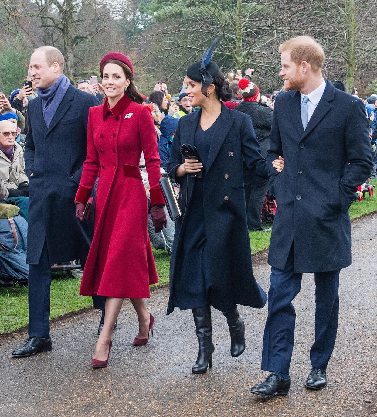 KING'S LYNN, ENGLAND - DECEMBER 25: Prince William, Duke of Cambridge, Catherine, Duchess of Cambridge, Meghan, Duchess of Sussex and Prince Harry, Duke of Sussex attend Christmas Day Church service at Church of St Mary Magdalene on the Sandringham estate on December 25, 2018 in King's Lynn, England. (Photo by Samir Hussein/Samir Hussein/WireImage)
