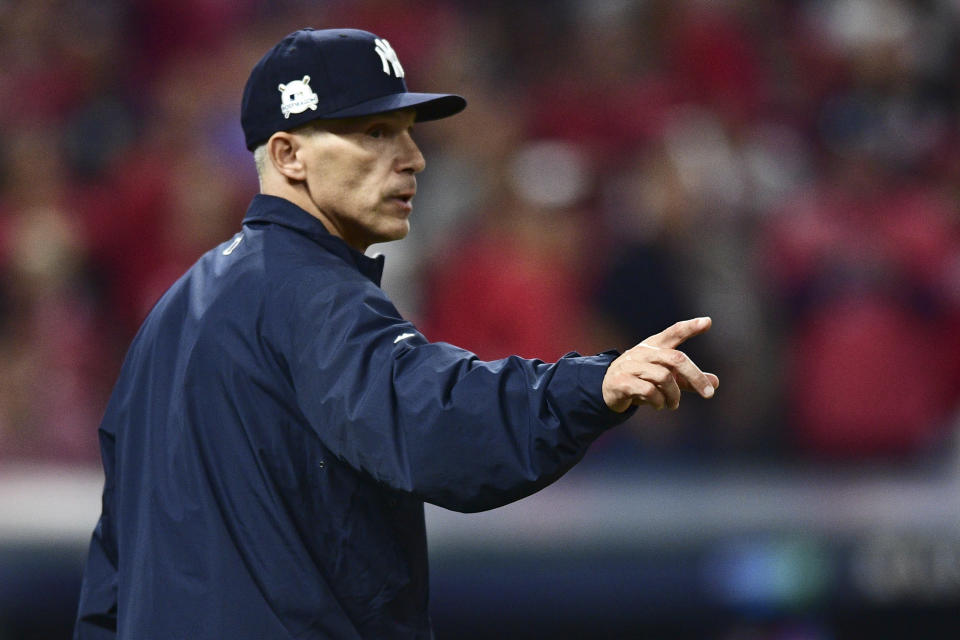 New York Yankees manager Joe Girardi cost his team a win in Game 2 of the ALDS against the Cleveland Indians. (AP)