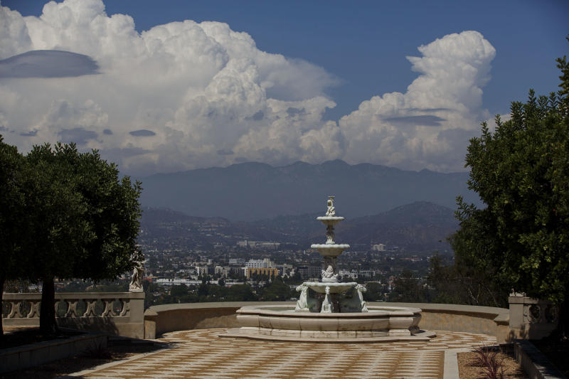 A fountain stands overlooking the valley at the former convent in Los Angeles. (Patrick T. Fallon/Bloomberg via Getty Images)
