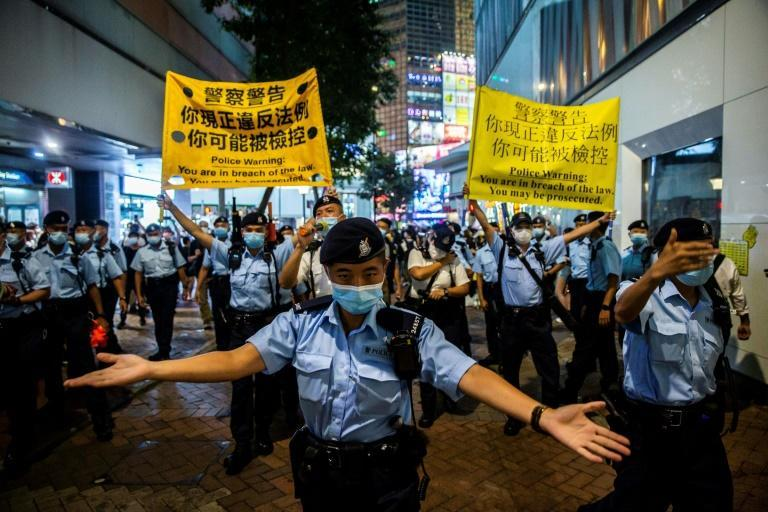 The last two Tiananmen vigils in Hong Kong were banned, with authorities citing the coronavirus pandemic and security fears (AFP/ISAAC LAWRENCE)