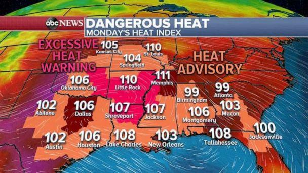 PHOTO: Dangerous high temps are predicted throughout much of the South on Monday. (ABC News)