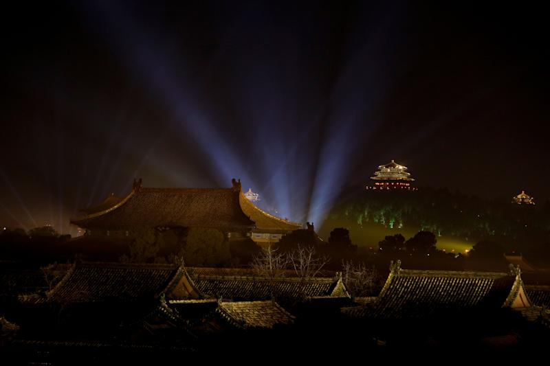 The Forbidden City is projected with lights during the Lantern Festival in Beijing, Tuesday, Feb. 19, 2019. (Photo: Andy Wong/AP)