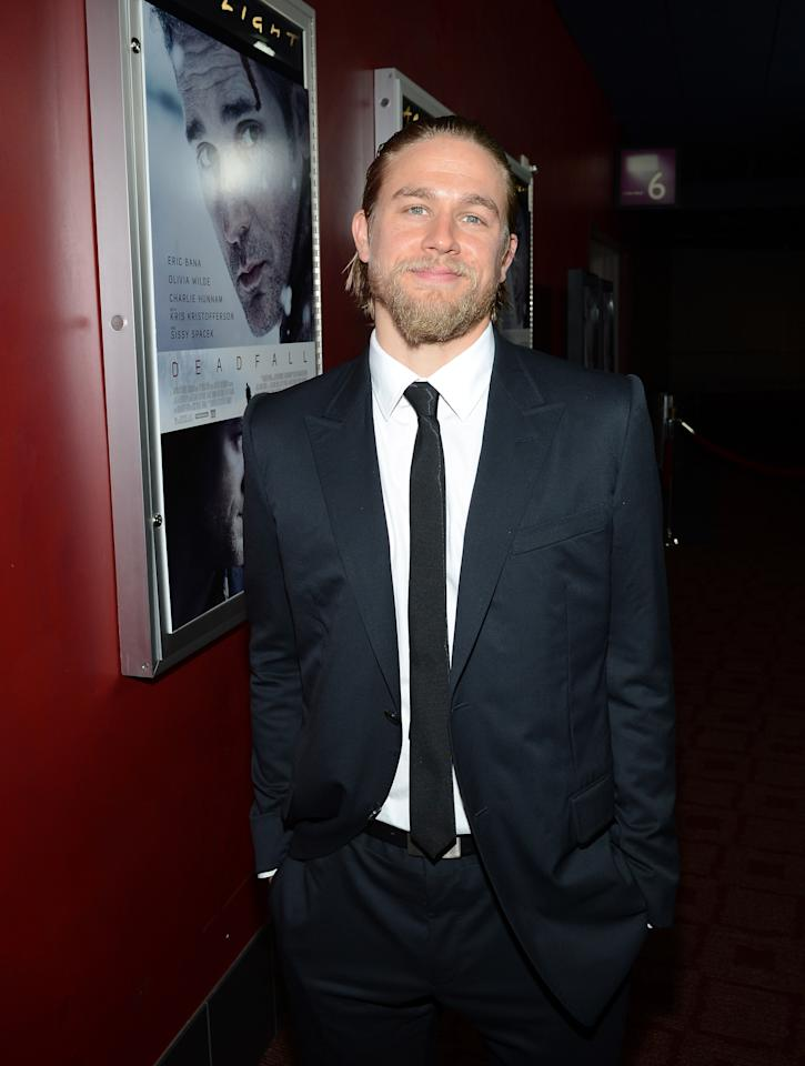 """HOLLYWOOD, CA - NOVEMBER 29:  Actor Charlie Hunnam attends the premiere of Magnolia Pictures' """"Deadfall"""" at the at the ArcLight Cinemas on November 29, 2012 in Hollywood, California.  (Photo by Michael Buckner/Getty Images)"""