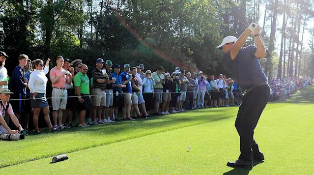 Phil Mickelson tees off on the 7th hole at Augusta National Golf Club on Tuesday for a practice round prior to the 2017 Masters.