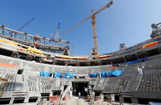 A general view shows the Lusail stadium which is under construction for the upcoming 2022 Fifa soccer World Cup during a stadium tour in Doha