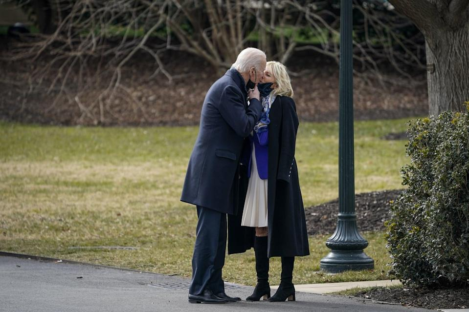 <p>In our personal opinion, these are Dr. Biden's chicest boots that come in a knee-high silhouette. By leaving a sliver of skin exposed at the knee on the front lawn of the White House a few days after the inauguration, she gave off slightly retro vibes and added a pop of color with a cobalt-blue blazer.</p>
