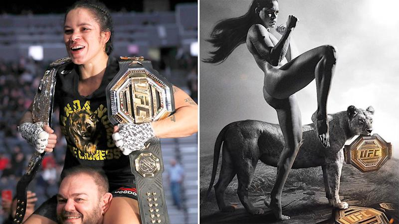 Seen here, Amanda Nunes with her belts and the naked image she posted of herself on Instagram.