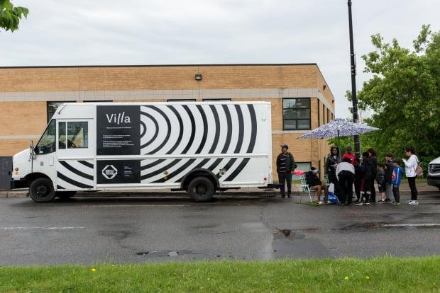 This mobile art gallery and studio is bringing free art exhibits to different boroughs in Montreal all summer. (Christian Bujold/Verticale - image credit)