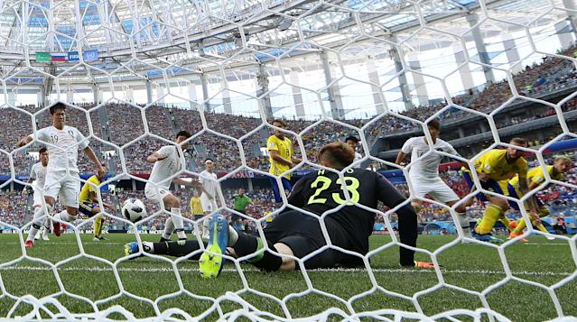 Soccer Football - World Cup - Group F - Sweden vs South Korea - Nizhny Novgorod Stadium, Nizhny Novgorod, Russia - June 18, 2018 General view of goalmouth action REUTERS/Matthew Childs